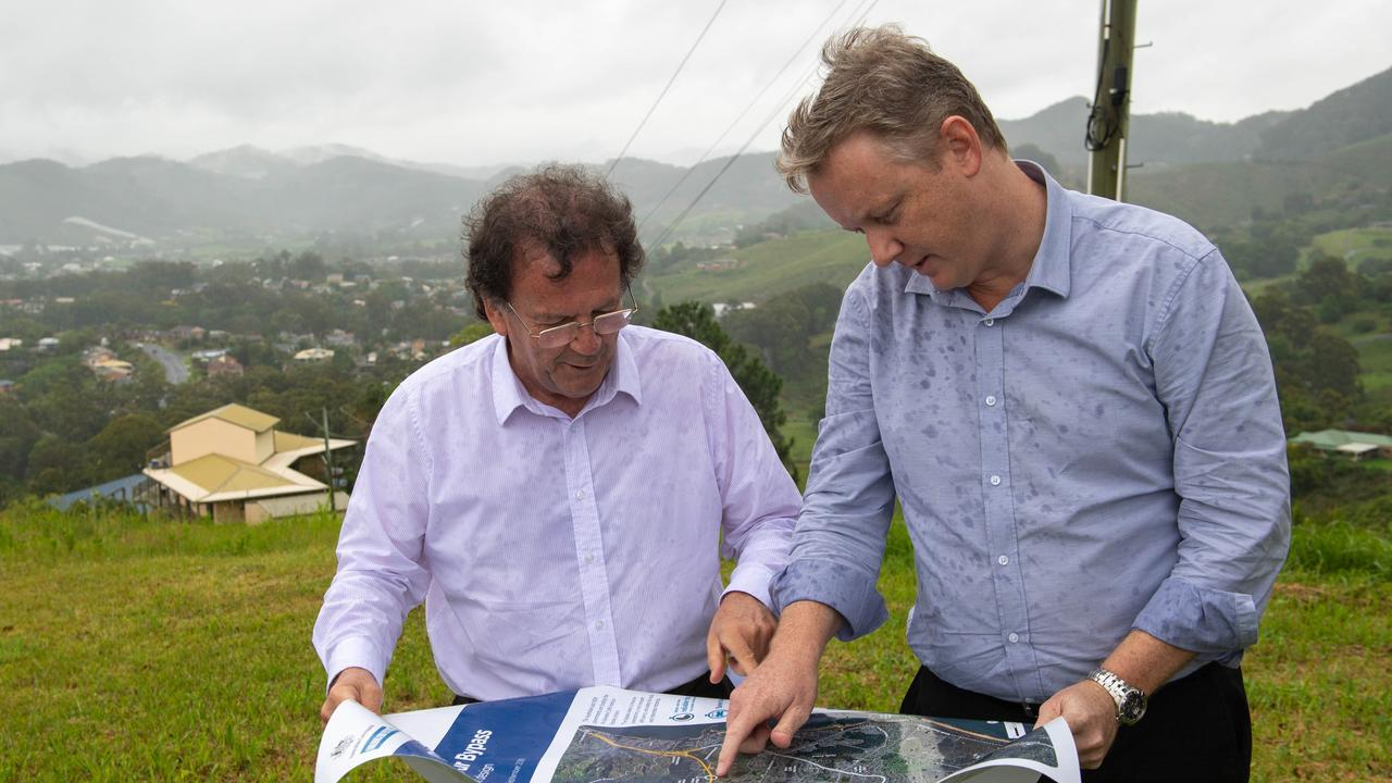 BOTH GONE: Adam Cameron (at right) has resigned as Coffs bypass project manager. He is pictured with fellow RMS senior staffer John Alexander (who has also since left) during a visit to Coffs Harbour in November last year.