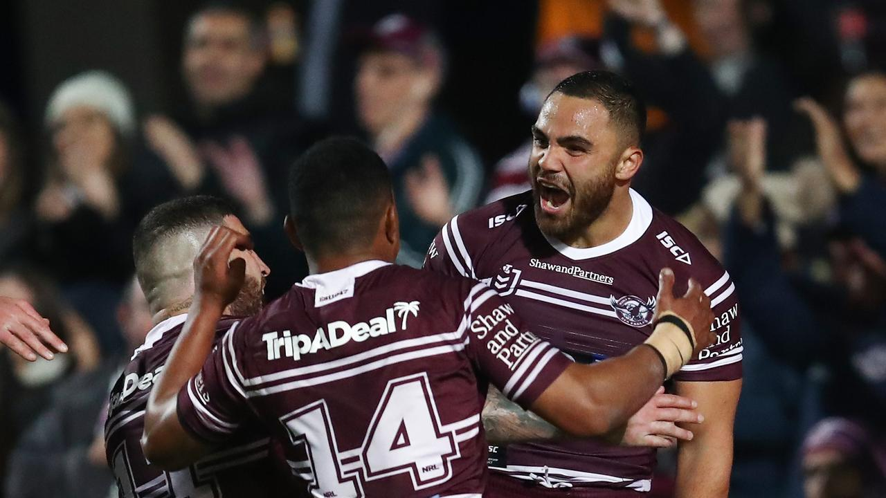 Manly were too good for the battling Tigers. AAP Image/Brendon Thorne.
