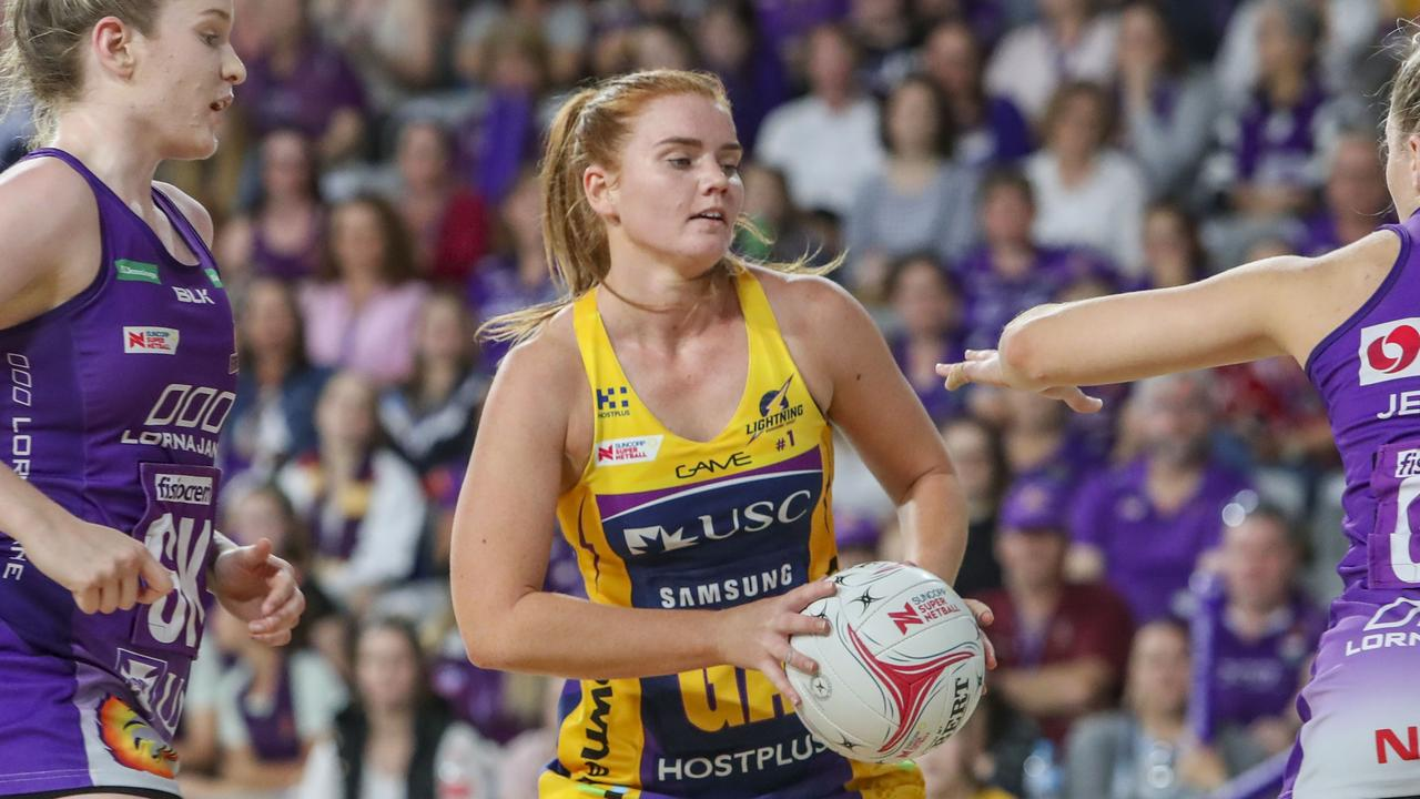 STAR PLAYER: Stephanie Wood of the Lightning against the Queensland Firebirds at the Brisbane Arena. Picture: AAP Image/Glenn Hunt.