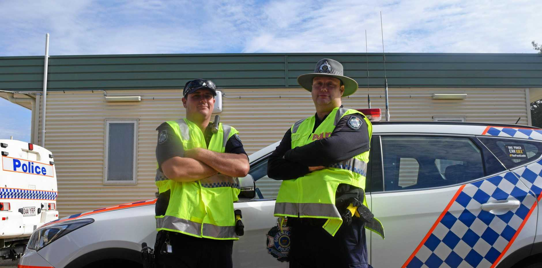 NO SPEEDING: Constable David Knibbs and Senior Constable Tom Gardiner from the Biloela Police are pulling all stops out for Road Safety Month.