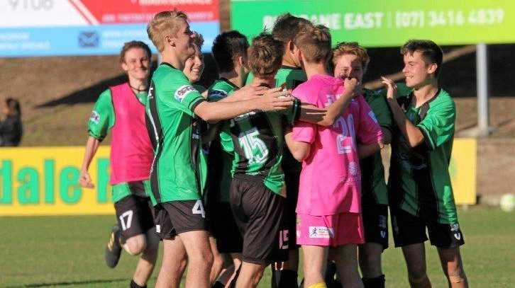 WINNING BOND: Ipswich Knights under-18 players celebrate reaching this weekend's QPL semi-final.