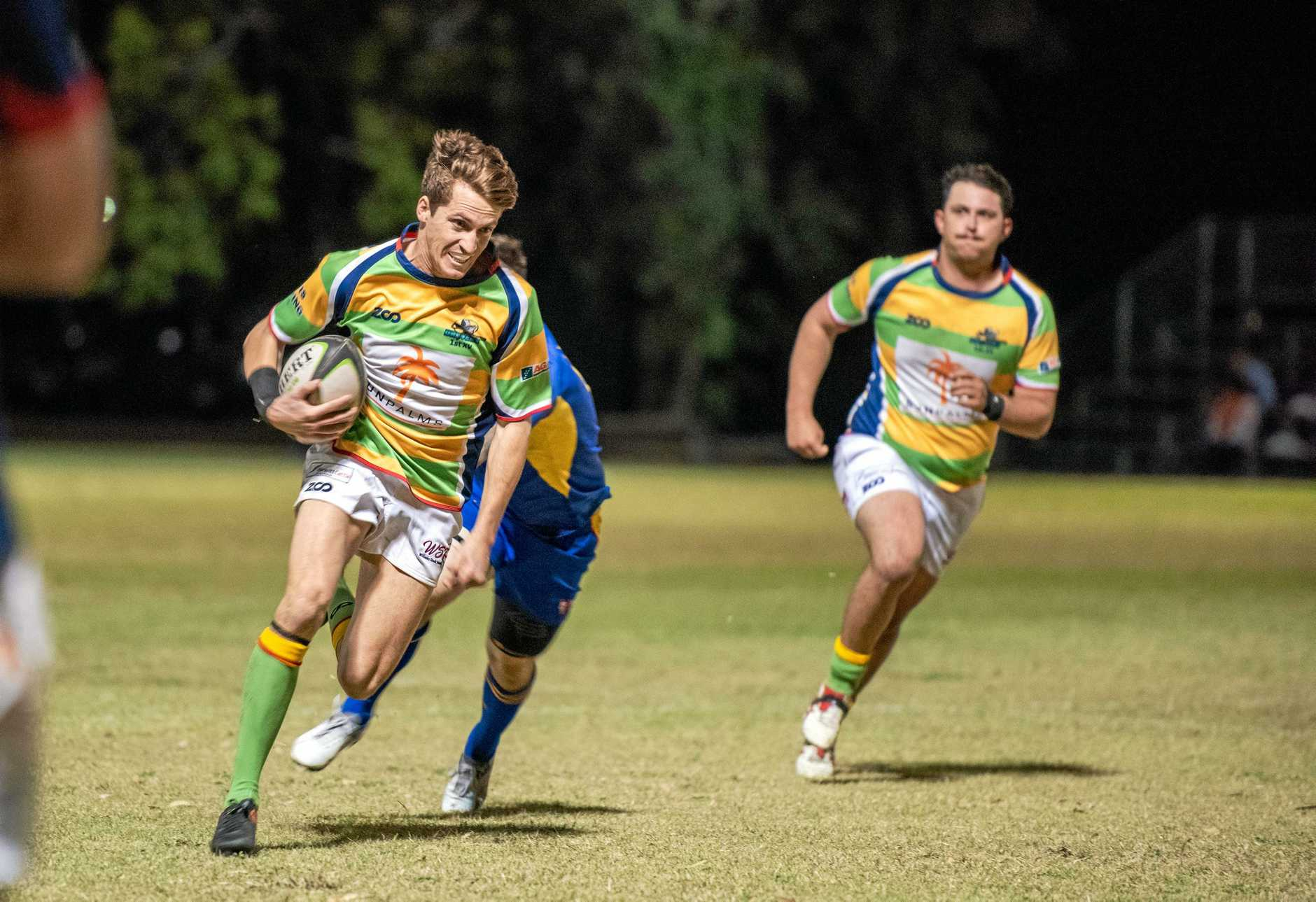 FINALS FEVER: Dawson Valley winger George Stacey in full flight in his team's semi-final win over Gladstone Grufs.