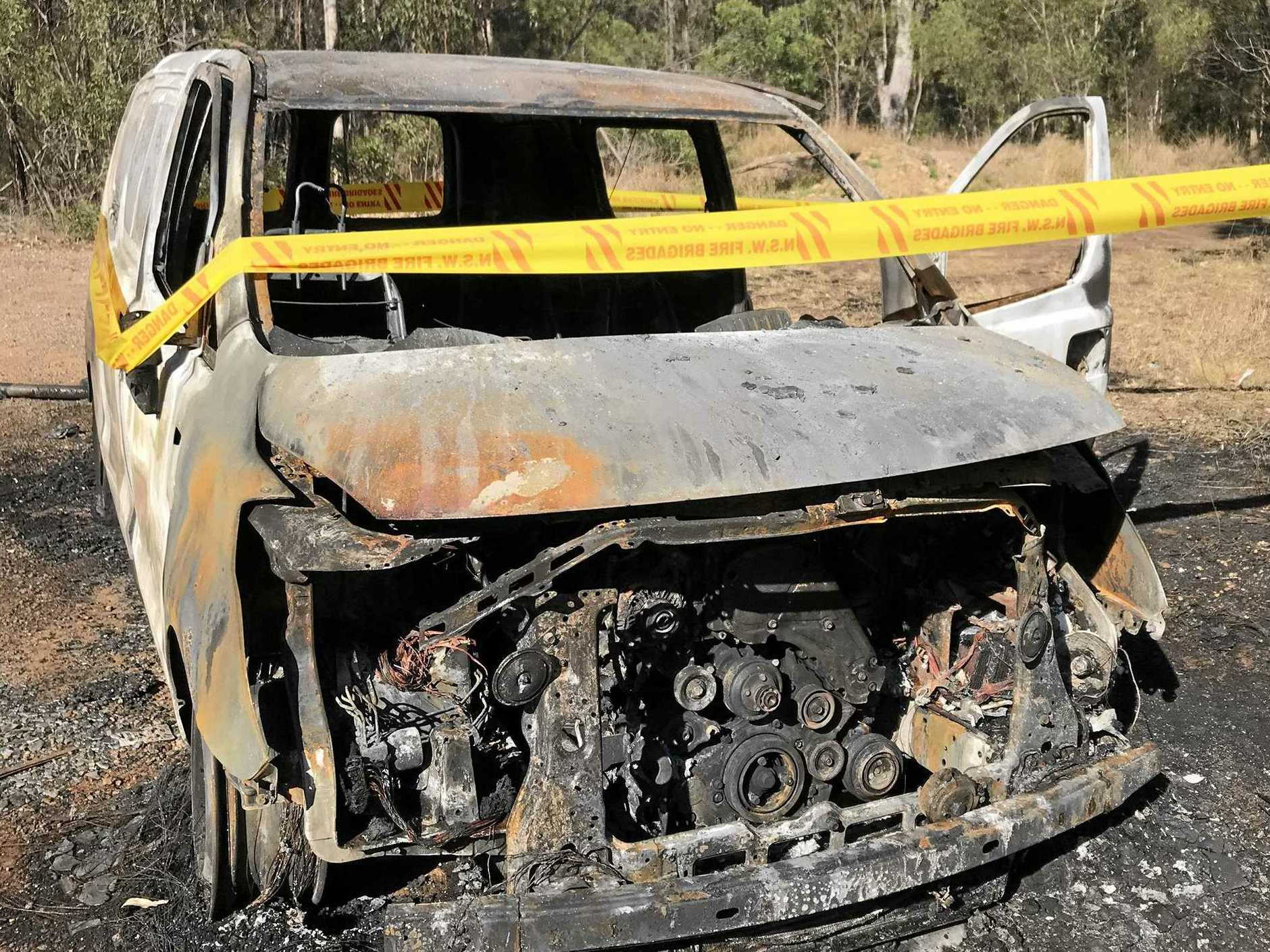 Emergency services respond to a vehicle fire in the northbound lane of the Pacific Highway, Glenugie. (Thursday, August 15)