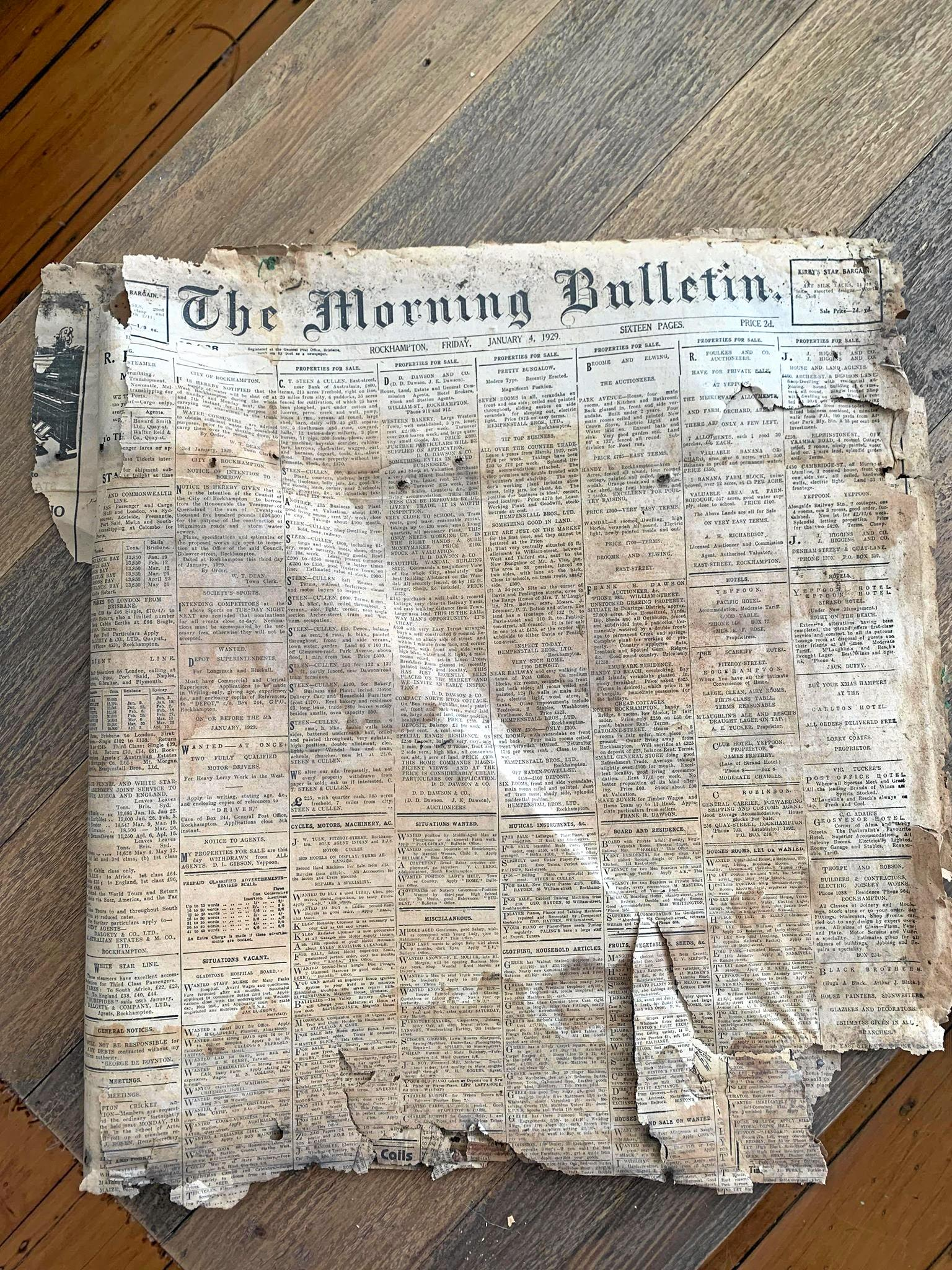 A 1929 copy of The Morning Bulletin was found this week under a bathroom cupboard.