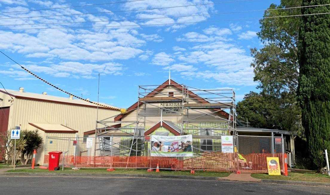 REPAIRS: The Newrybar Hall, built in 1899, is currently undergoing an external facelift.