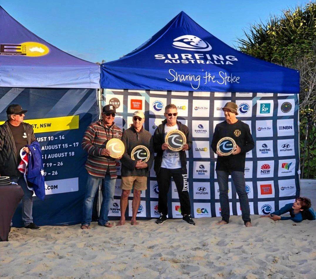 WINNERByron Bay Boardriders president Neil Cameron wins the Surfing Australia over 60's championship.