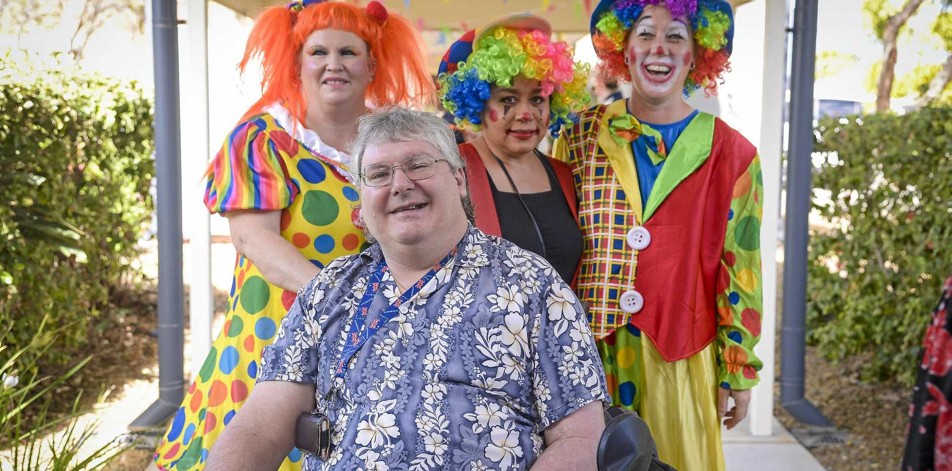 Rob mackney with the Blue Care Clowns at show day at Blue Care Gladstone Edenvale Aged Care facility on 16 August 2019.