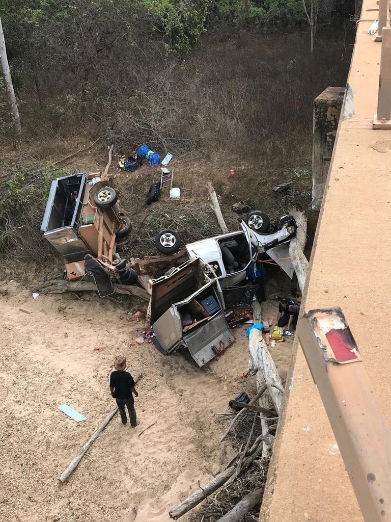 A 75-year-old Brisbane man is in a serious condition after his car plummeted 18m off the Little Laura River bridge north of Laura. Picture: Supplied
