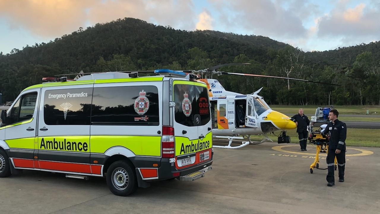 The rescue chopper flew the injured man to hospital. Photo: CQ Rescue