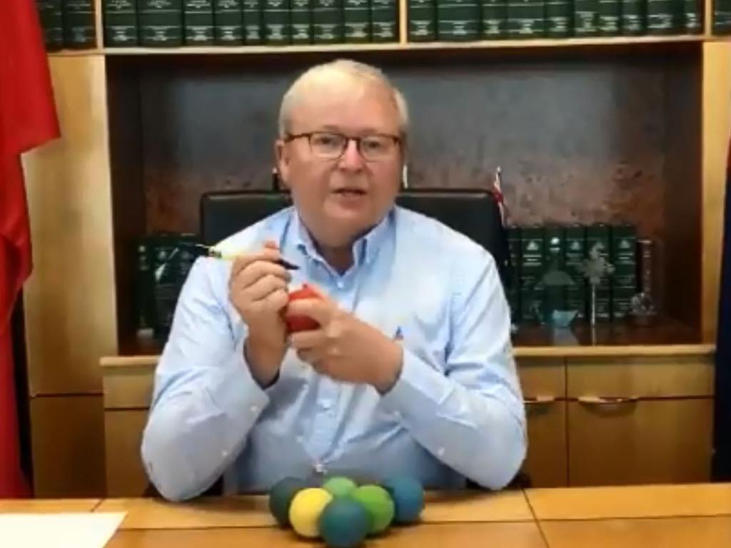 Mr Rudd calls himself the global king of handball. Picture: Paul Rudd/Twitter