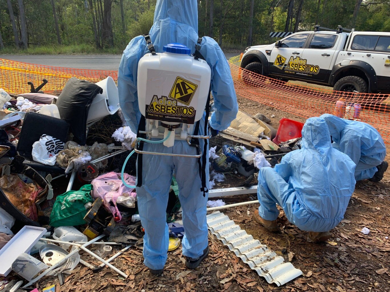 Adios Asbestos was called to clean up piles of dumped asbestos in the Noosa region, which is estimated to cost council about $10,000 for the cleanup.