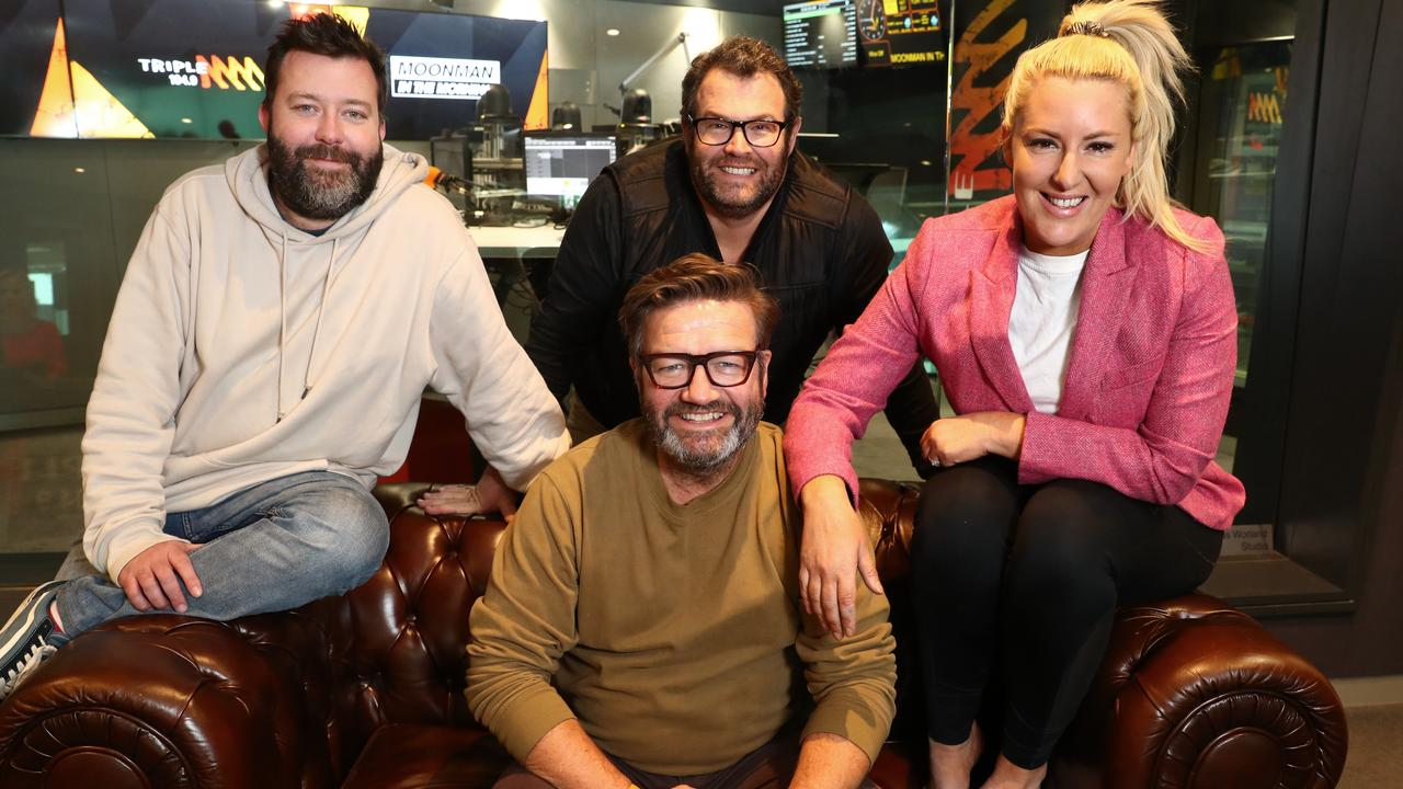 Triple M breakfast show hosts Chris Page, Gus Worland (middle back row), Lawrence 'Moonman' Mooney and Jess Eva. Picture: John Feder/The Australian