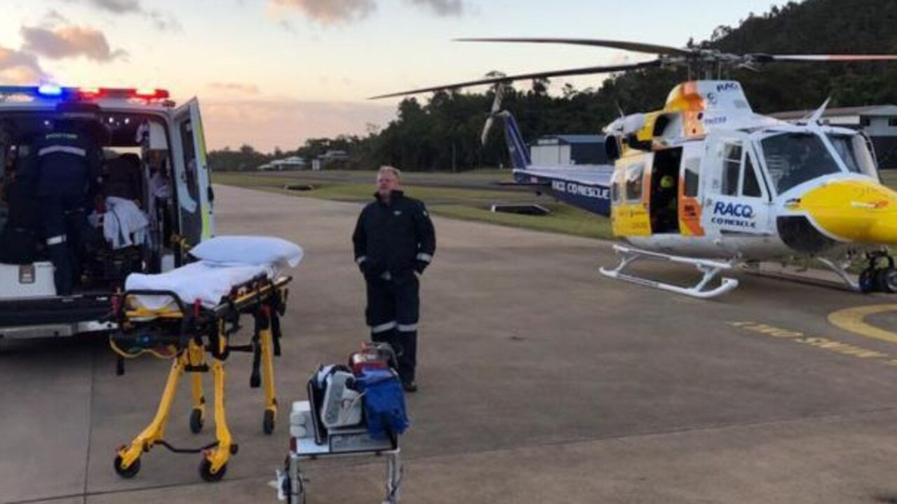 The injured man was taken by helicopter to Mackay Base Hospital. Photo: RACQ CQ Rescue