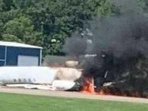 Motorsport legend survives fiery plane crash
