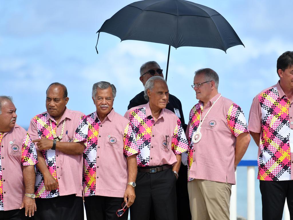 Kiribati's President Taneti Maamau, Cook Islands Prime Minister Henry Puna, Tonga's Prime Minister Akilisi Pohiva, Australia's Prime Minister Scott Morrison. Picture: AAP