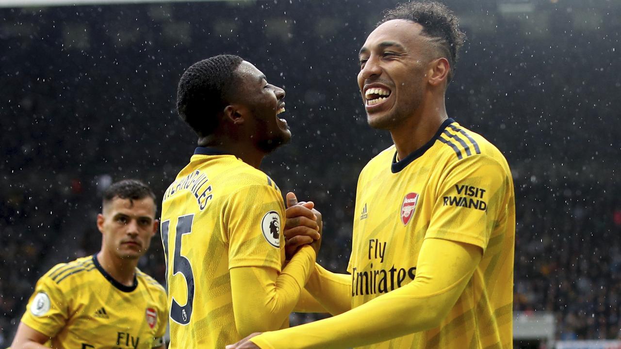 Pierre-Emerick Aubameyang scored the only goal against Newcastle. Photo: Owen Humphreys/PA via AP