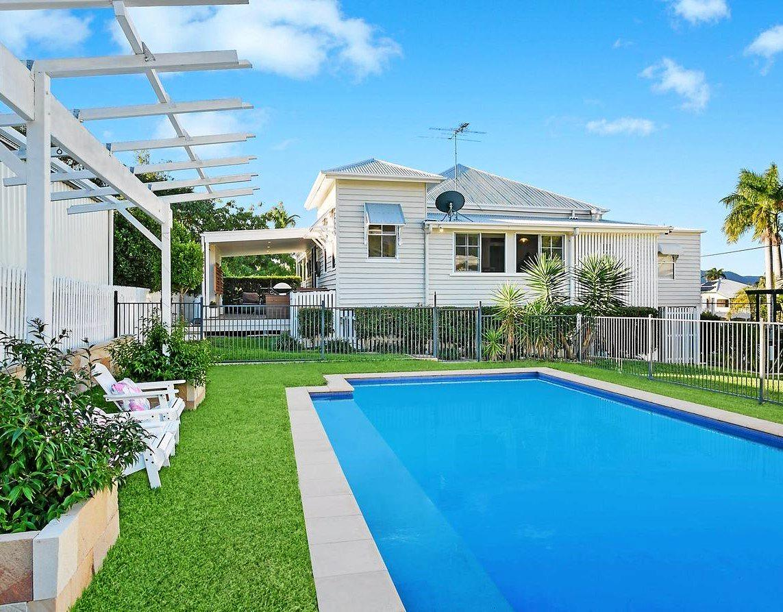 MODERN QUEENSLANDER: 17 Brecknell St has all the bells and whistles, with a three-bedroom home plus a granny flat and pool.