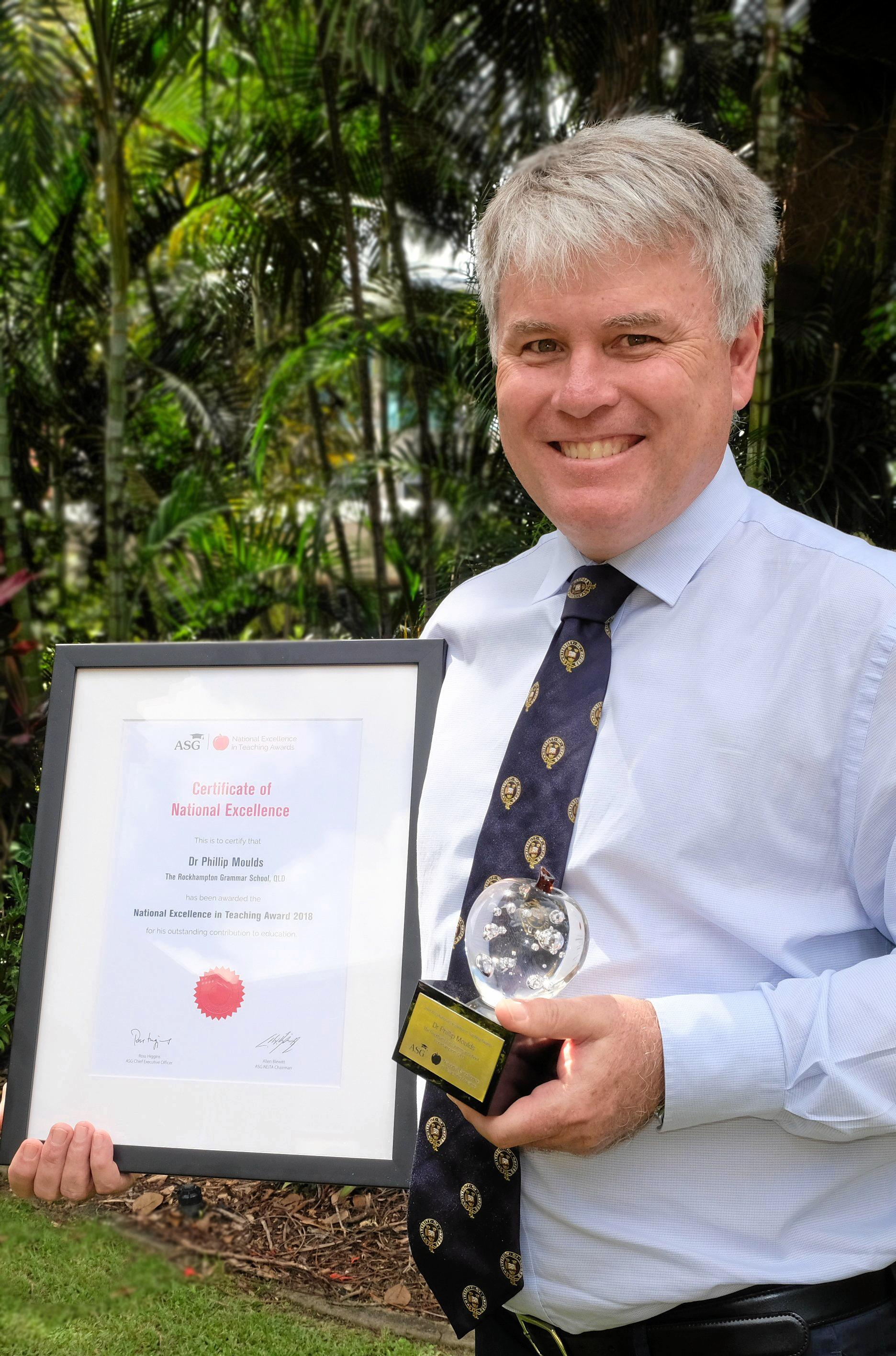 EXCELLENCE IN EDUCATION: Headmaster of Rockhampton Grammar School (RGS), Dr. Phillip Moulds. RGS was recognised recently with a prestigious award.