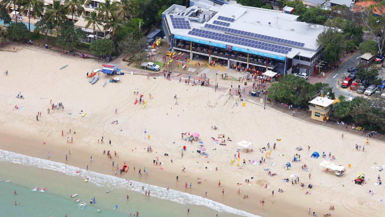 An aerial view of Noosa Main Beach and the current Noosa Surf Life Saving Club. Photo: Lachie Millard.