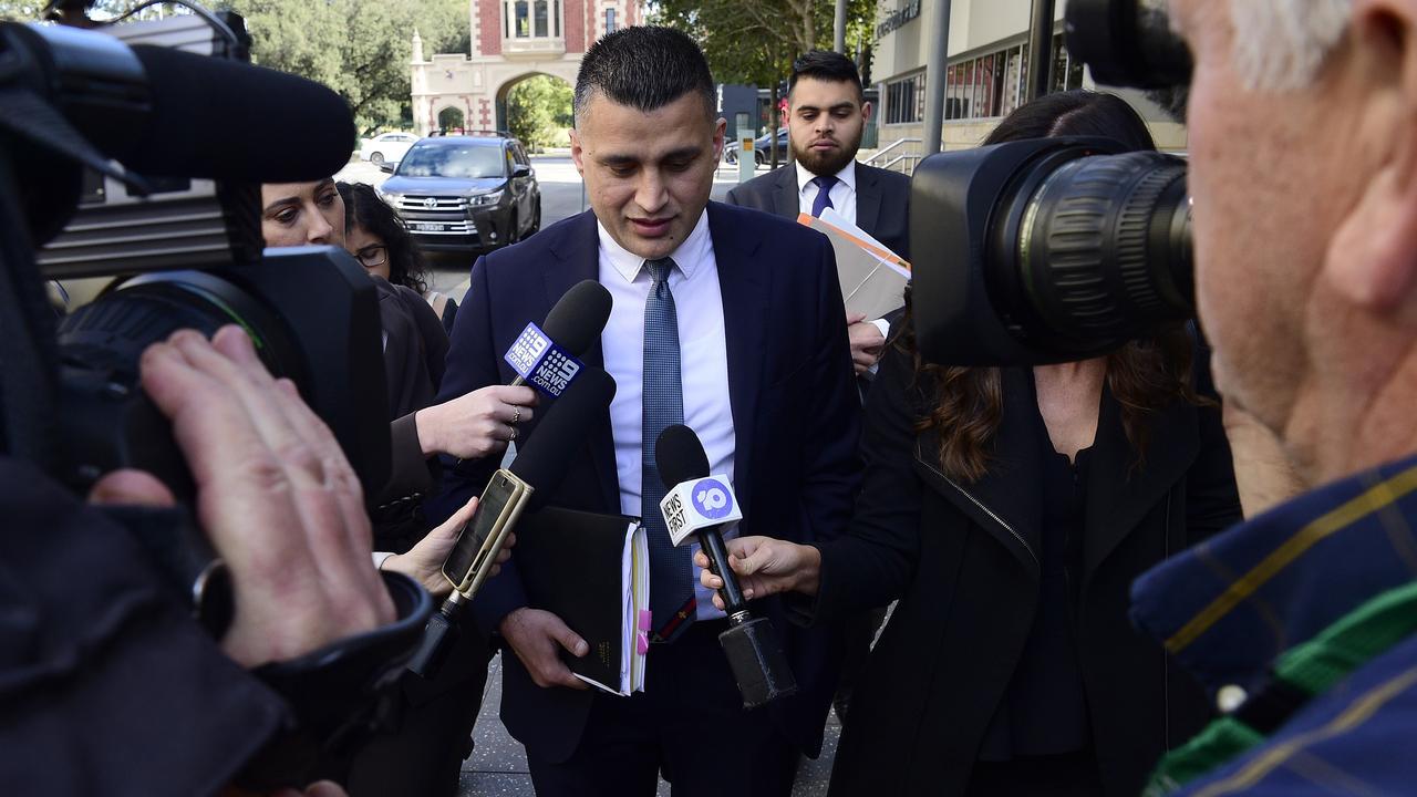 Zemarai Khatiz, lawyer for Mert Ney, outside Parramatta Bail Court. Picture: Bianca De Marchi
