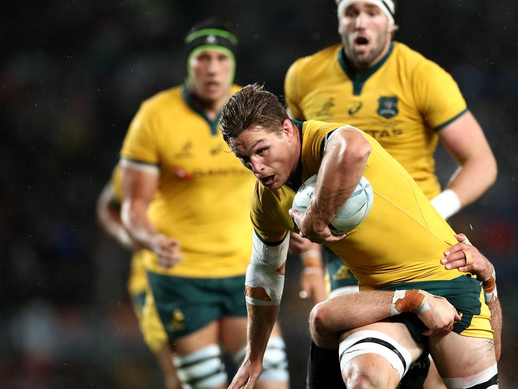 Michael Hooper is tackled during the Bledisloe Cup Test match.