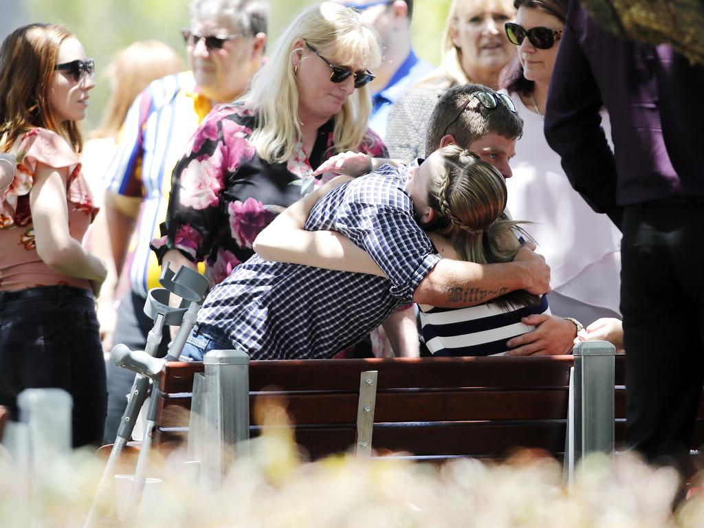 Friends and family pictured at the funeral of Karin and Makayla Tritton. Picture: AAP Image/Josh Woning