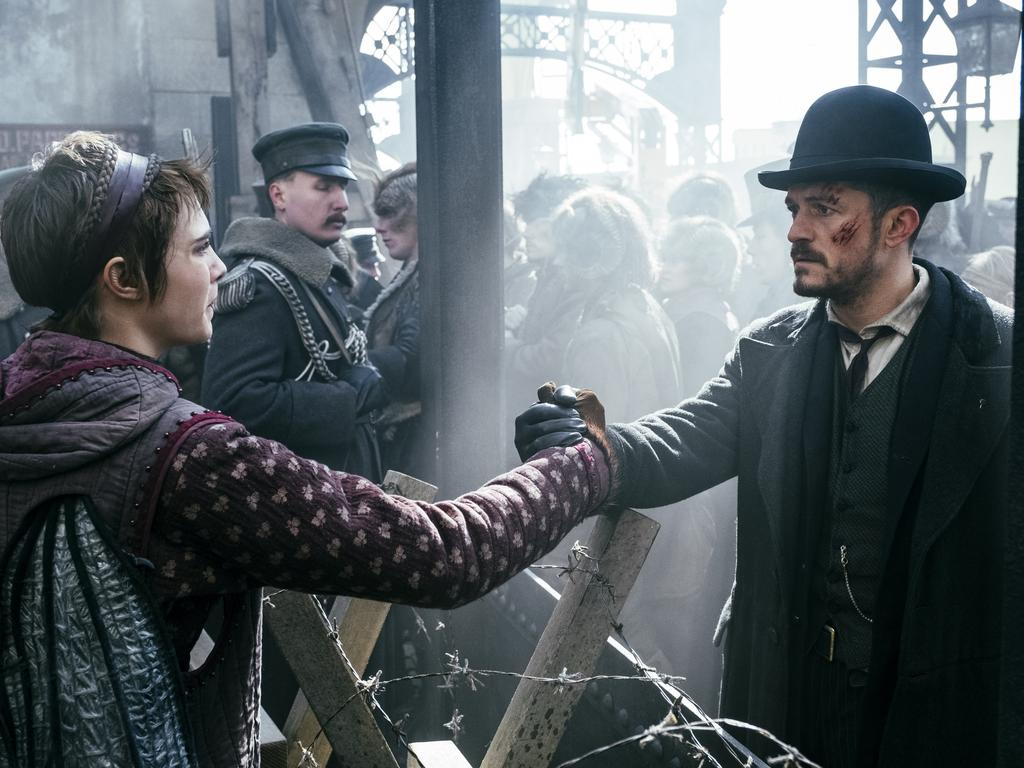 Cara Delevingne plays Vignette Stonemoss and Orlando Bloom plays Detective Inspector Rycroft Philostrate in Amazon Prime fantasy series, Carnival Row. Picture: Jan Thijs/Amazon Prime