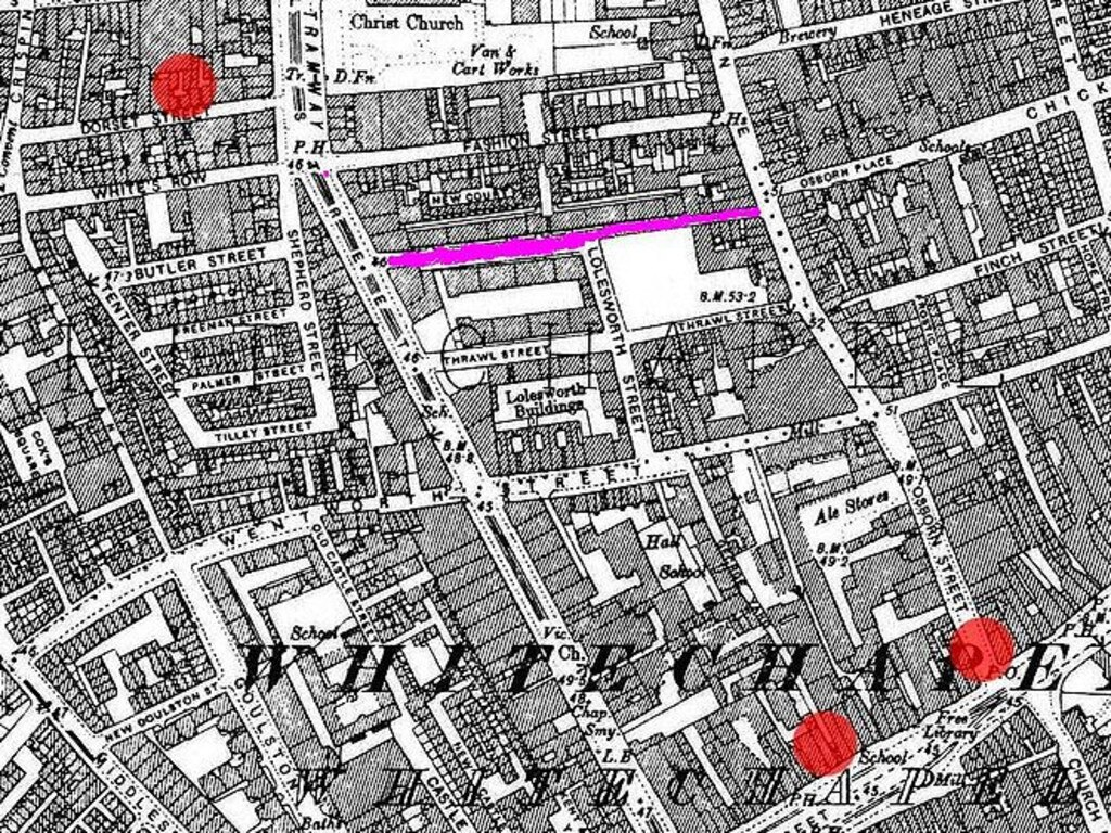A map of Whitechapel in the 1800s, showing Flower and Dean Street in purple, and the sites of some killings as red spots.