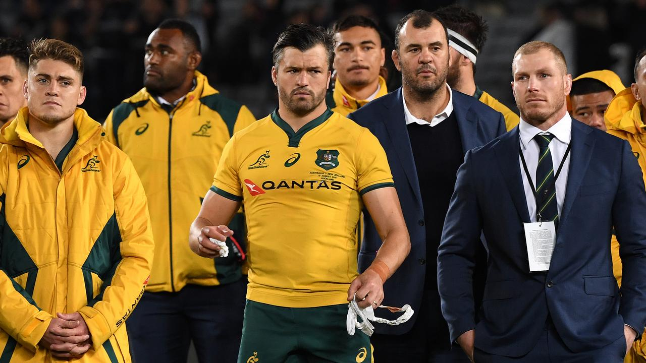 Coach Micheael Cheika with the Wallabies players after the defeat. Picture: AAP