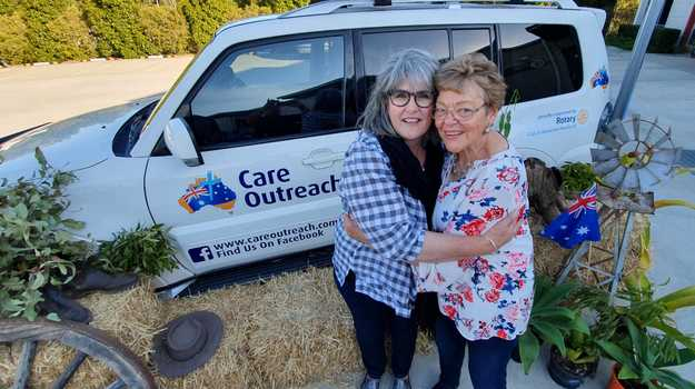Jacque Blacker from Marlee Downs in Mitchell, near Charleville, catches up with the Sunshine Coast's Jenny Philbrook, who has been visiting the drought-hit family for years along with husband Keith.