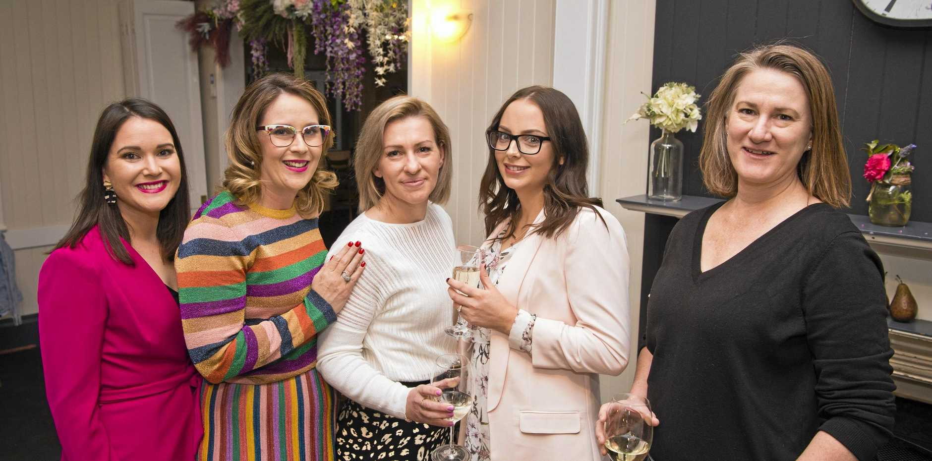 At the Wondrous Women dinner are (from left) organiser Jessica Ritchie, Danielle Brown, Petrina Schulz, Christina Douglas and Jacqui Eather at Urban Grounds Cafe, Friday, August 9, 2019.