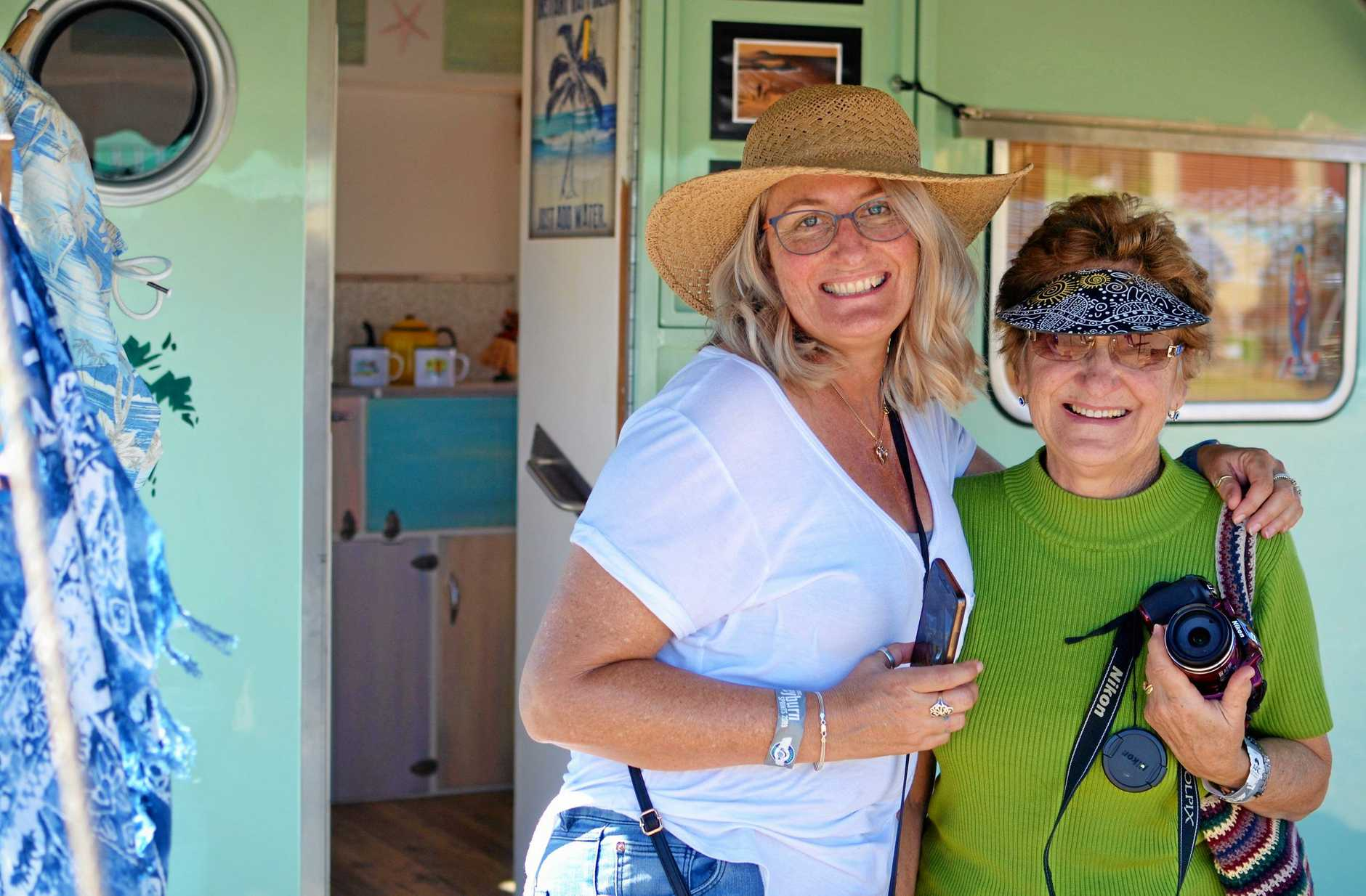 ALL SMILES: Rowena and Desley Stewart from Redcliffe check out the caravan display.