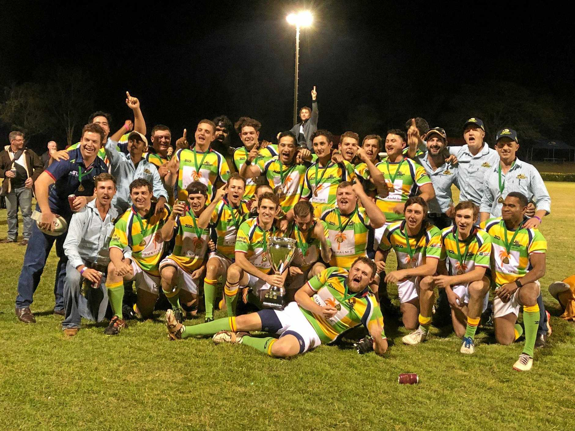 YOU BEAUTY! The Dawson Valley Drovers celebrate their grand final win over Rockhampton Brothers on Saturday night.