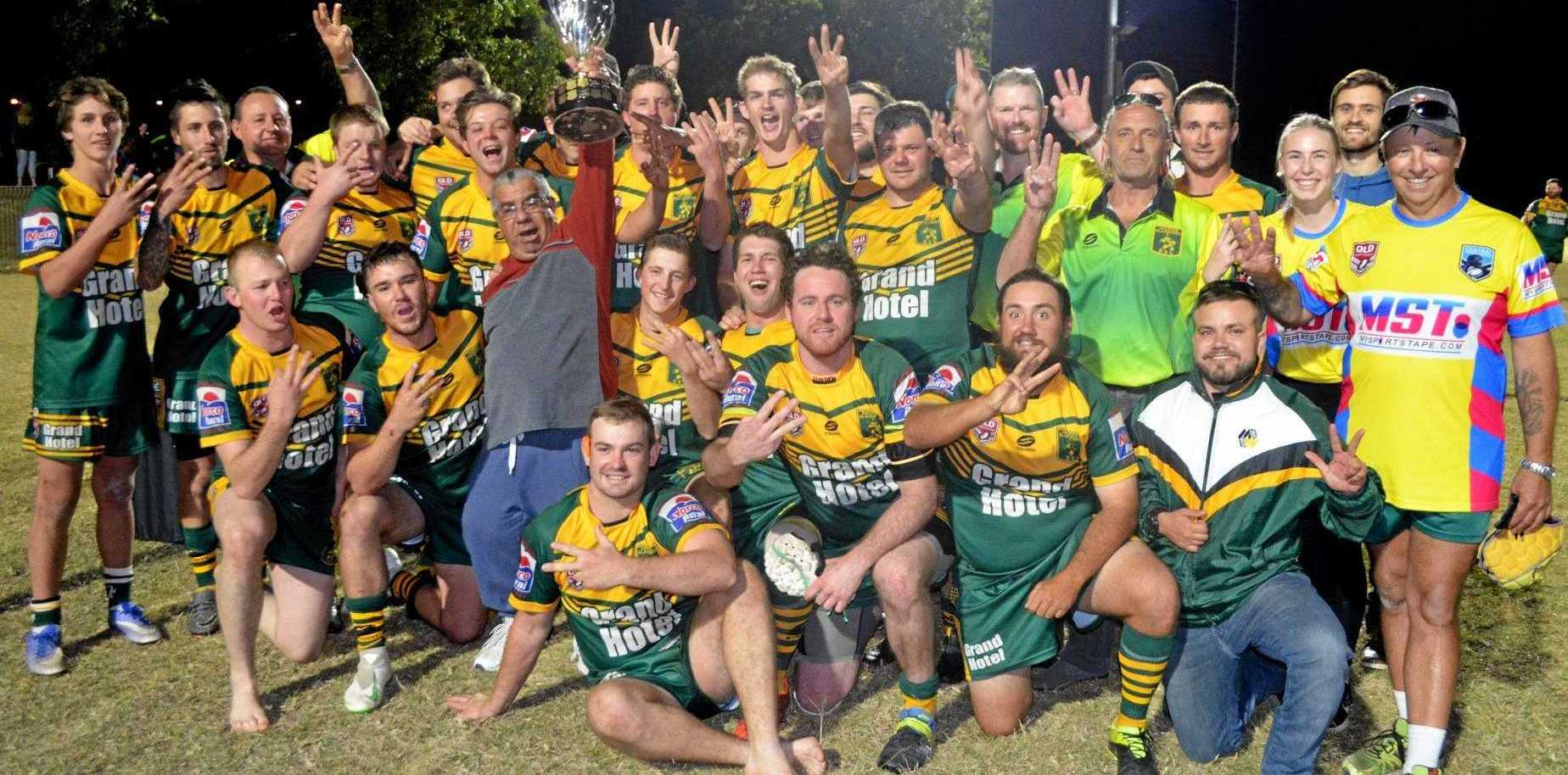 THREEPEAT: Does lightning strike thrice? Underdogs Gayndah Gladiators secure thrilling 26-32 victory in the 2019 Central Burnett Rugby League grand final.