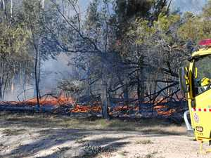 Controlled burn jumps fire lines and will burn overnight