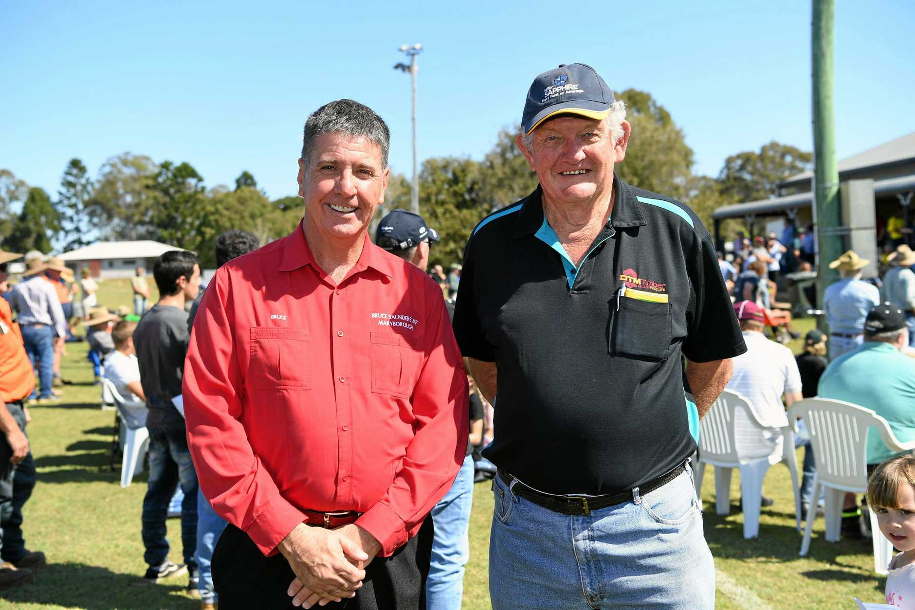 FUTURE FOCUS: Maryborough MP Bruce Saunders and director of DTM Timber Raymond (Curly) Tatnell.
