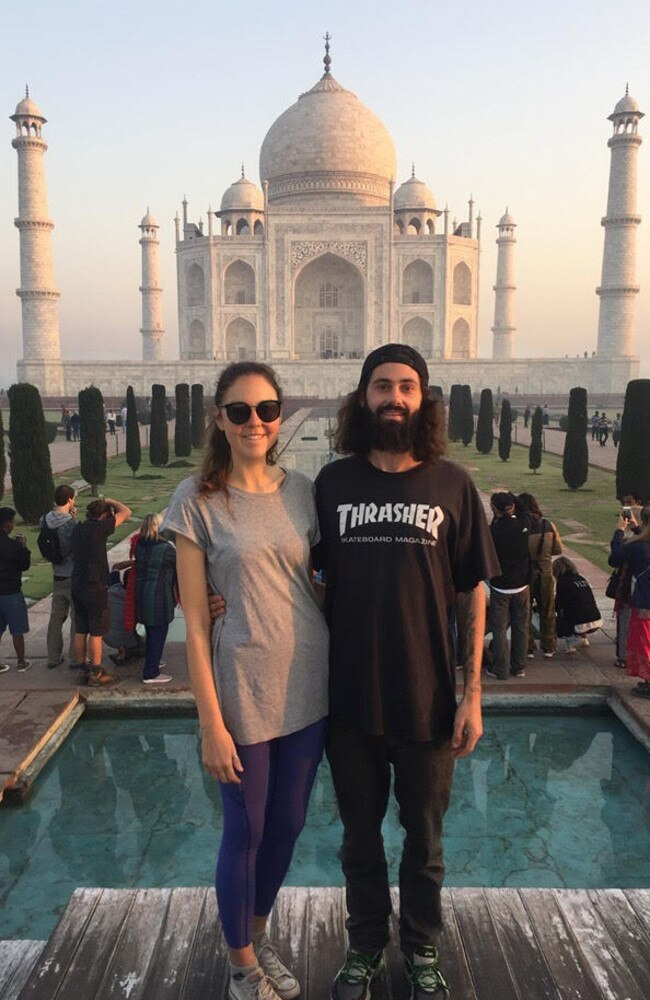 Britt and Jay in India. Picture: Supplied.