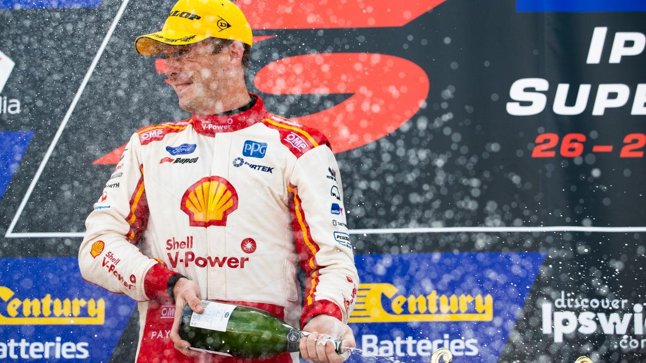 Shell V-Power Racing Team's Ford Mustang driver Scott McLaughlin has sprayed the most champagne from the winner's step on the Supercars podium this year. Picture: Daniel Kalisz/Getty Images