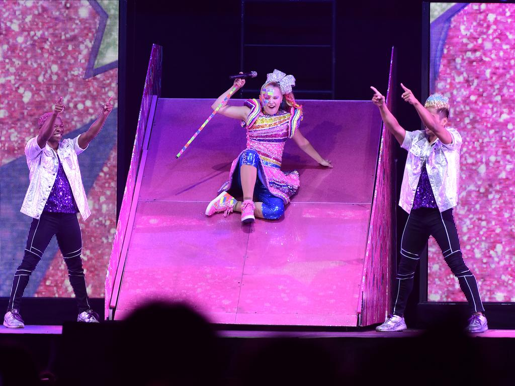 The D.R.E.A.M. show includes JoJo's trademark pink slide. Picture: Getty