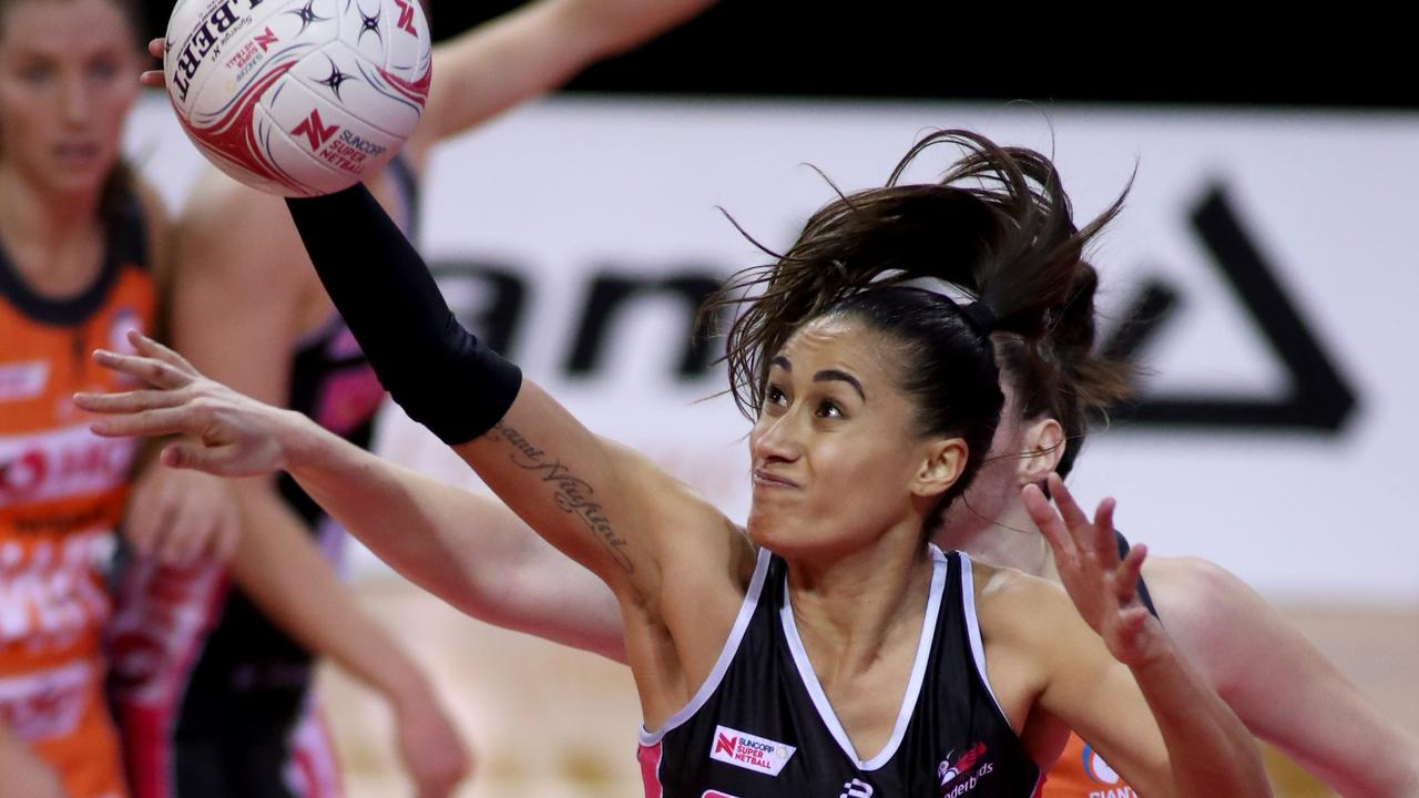 Maria Folau of the Thunderbirds under pressure. Picture: AAP Image/Kelly Barnes