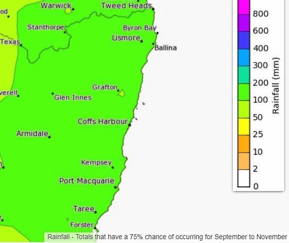 Rainfall totals in spring, according to the weather bureau.