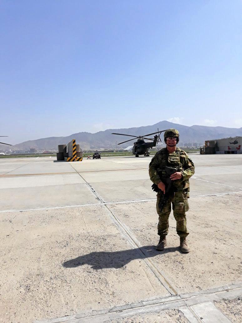 Major Ed Dahlheimer prior to conducting a reconnaissance flight over the Loya jirga in Kabul, Afghanistan.