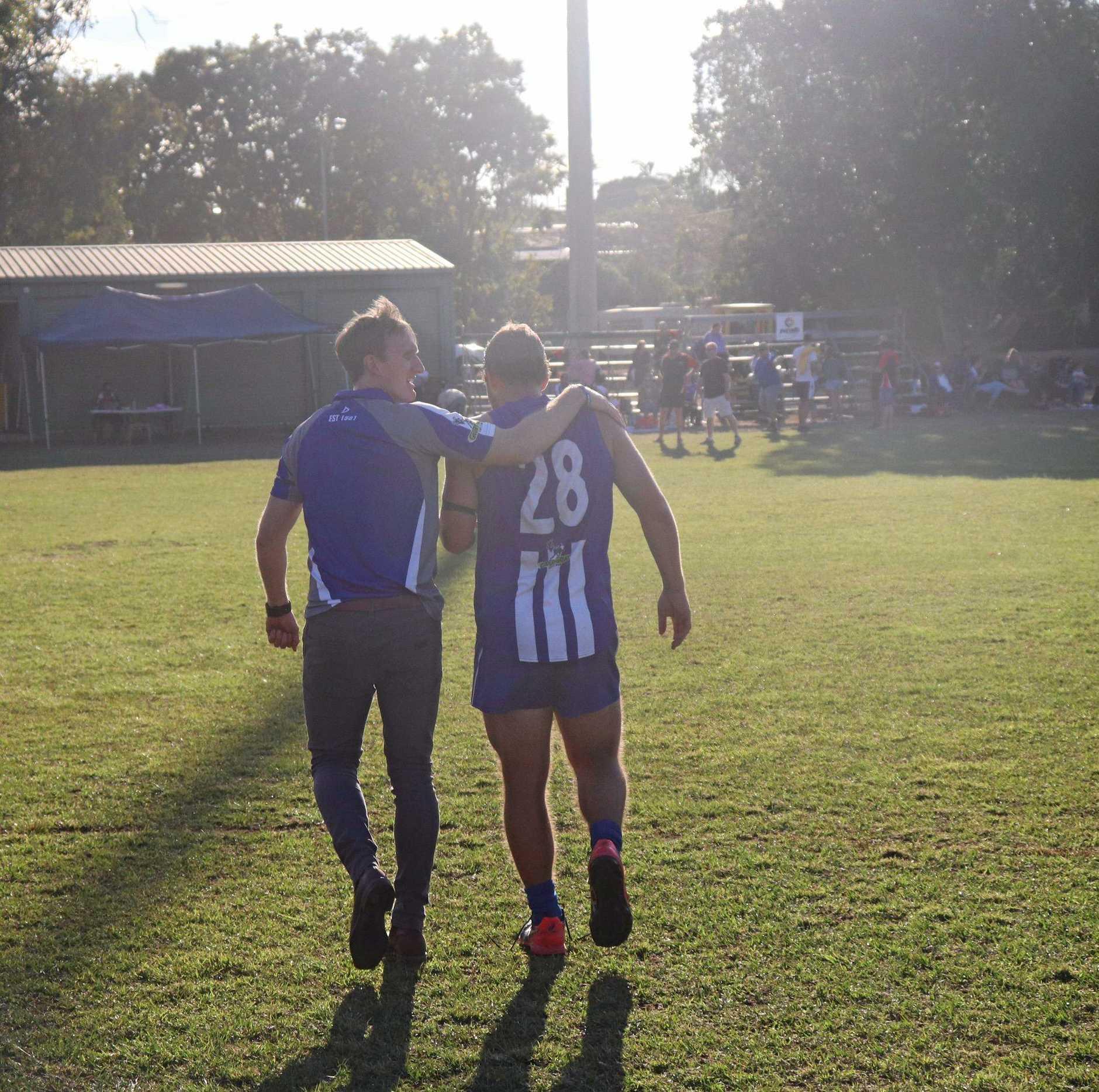 Kangaroos Coach Michael Rose and Player Luke Rumpf.