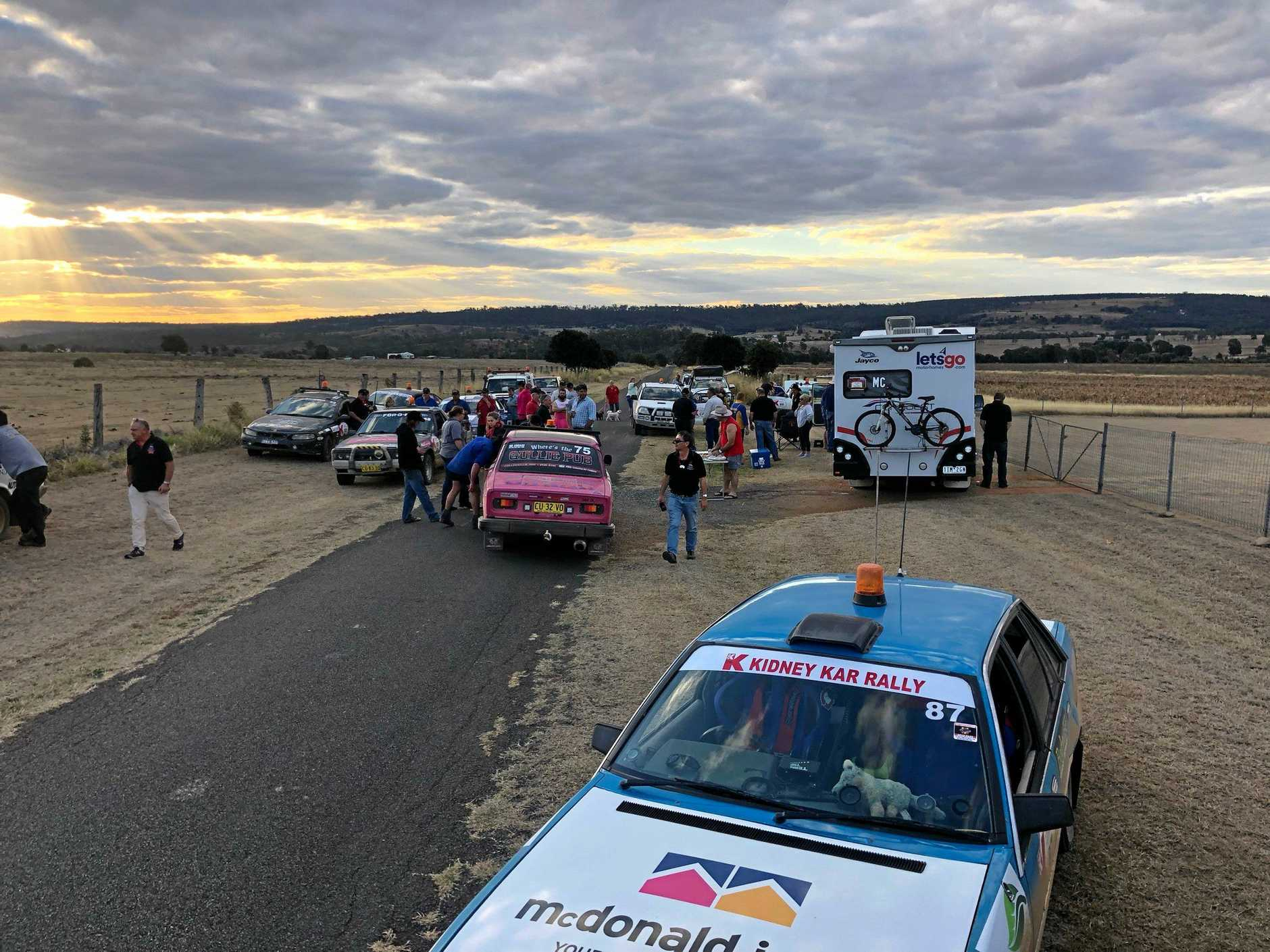 The Kidney Kar Rally's 42 cars will travel a total of 4,000 kms of very dusty roads raising money for the Kidney Kids.