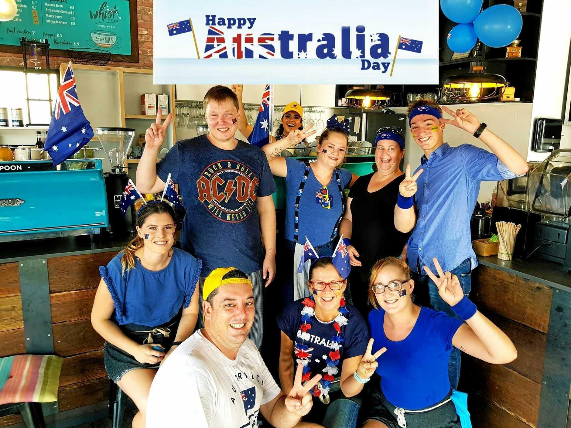 AUSSIE, AUSSIE, AUSSIE!: Staff from Whisk Cafe in Yeppoon got into the spirit of celebrating Australia Day last year.