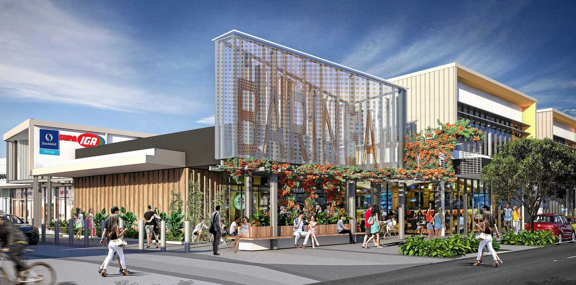 An artist's impression of the Stockland Baringa shopping Centre at Aura.