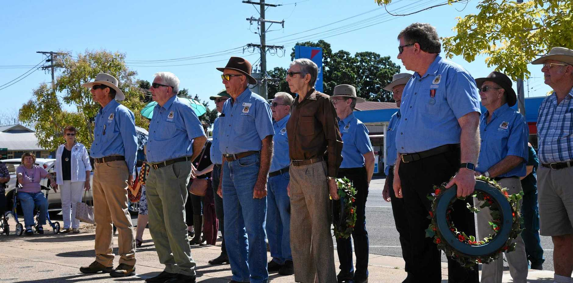LEST WE FORGET: Russ Tyler, Alan Cooper, Phil Grambower, Neville Marsh and Stephen Adams at Gayndah RSL Sub Branch's National Vietnam Veteran's Day event.