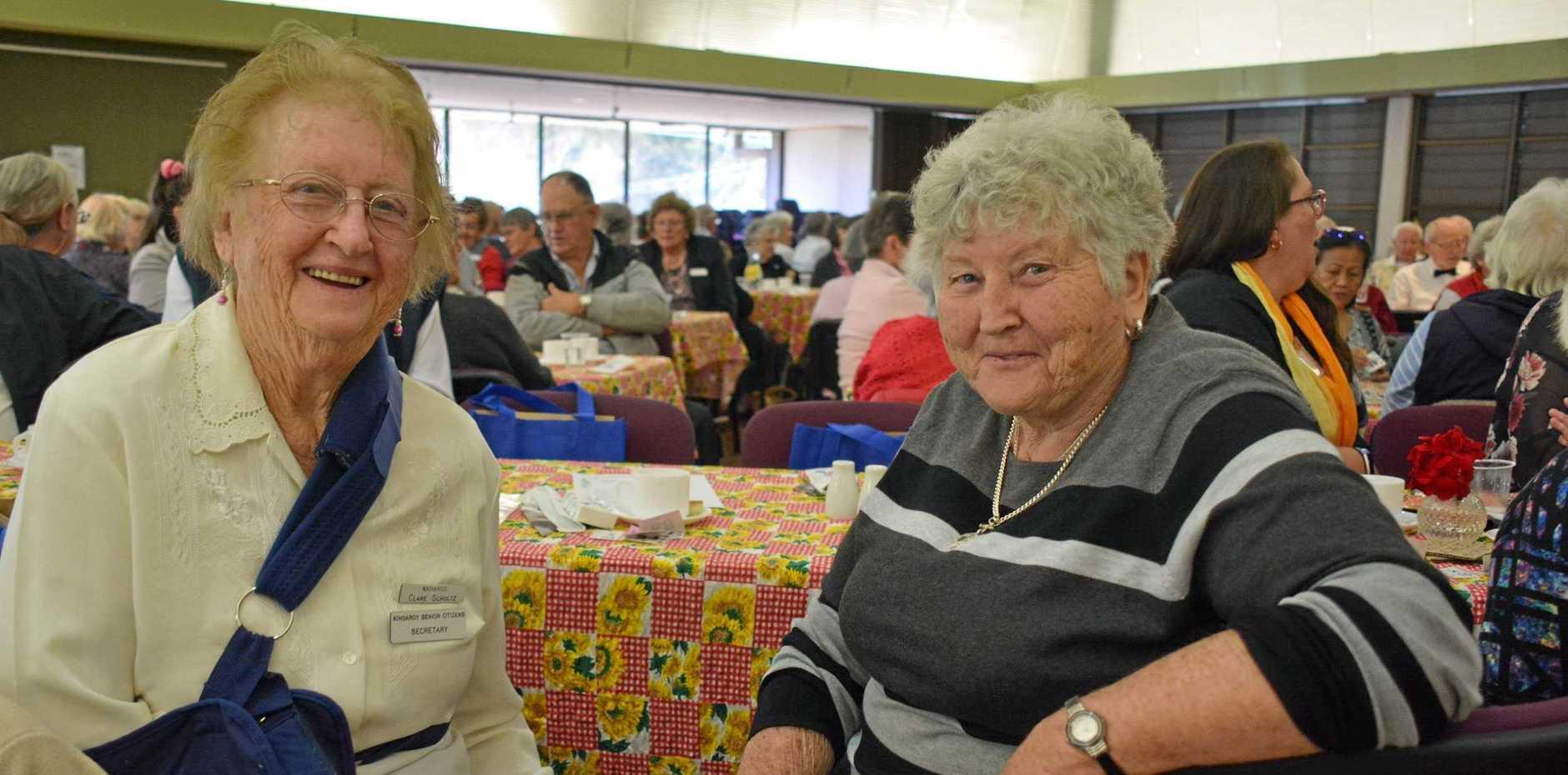 Clare Schultz and Val Harm enjoy the Nanango Seniors Week event.