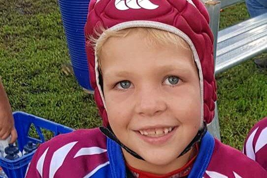 SLOW RECOVERY: Eight-year-old Jaxon Green from Wandoan has begun opening his eyes and spoken for the first time since the horrific accident which saw him flown to a Queensland Hospital.