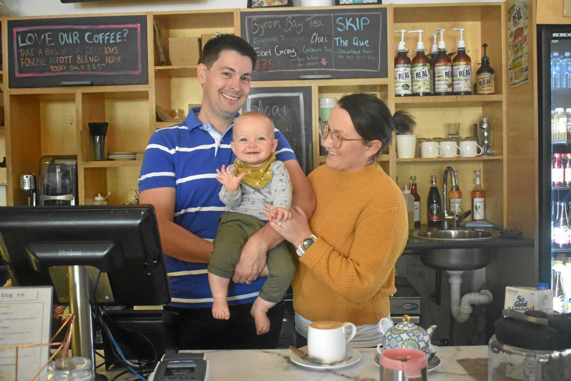 HELPING HAND: Michael, Celeste and Luca Mayes.